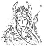 Zodiac sign Taurus black and white drawing viking girl helmet with horns animal tail. Figure drawn pen royalty free illustration