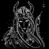 Zodiac sign Taurus black and white drawing viking girl helmet with horns animal tail. Figure drawn pen stock illustration