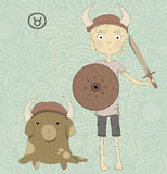 Zodiac sign Taurus. A boy with a sword and a shiel Stock Images