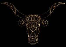 Zodiac sign Taurus. Bull. The bull`s head is painted with gold threads, lines and pattern. Vector illustration, Isolated on black. Stock Photos