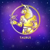 Zodiac sign Taurus. Character of Sumerian mythology. Gold imitation. Vector illustration. Background - the night star sky.Print, potser, t-shirt, card stock illustration
