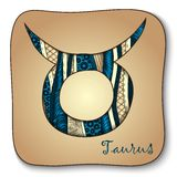 Zodiac sign - Taurus. Doodle hand-drawn style Royalty Free Stock Photo
