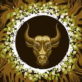 Zodiac Sign of Taurus in Earth Circle Royalty Free Stock Image