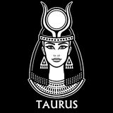 Zodiac sign Taurus. Fantastic princess, animation portrait. Vector monochrome illustration isolated on a black background Royalty Free Stock Images