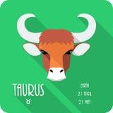 Zodiac sign Taurus icon flat design Royalty Free Stock Photography