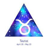 Zodiac sign Taurus over hipster triangle with space galactic. Starry texture inside. Night sky full of stars. Vector galaxy design for horoscope predictions Stock Images