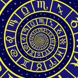 Zodiac sign on time spiral Royalty Free Stock Photos
