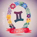 Zodiac sign TWINS, in sweet floral wreath. Horoscope sign, flowers, leaves and ribbon Stock Images