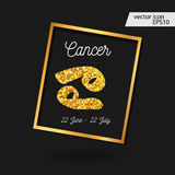 Zodiac sign vector illustration. Cancer zodiac sign vector illustration. Gold cancer icon Stock Photo