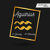 Zodiac sign vector illustration. Gold Aquarius icon vector illustration
