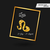 Zodiac sign vector illustration. Gold Leo icon. zodiac sign vector illustration royalty free illustration