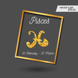 Zodiac sign vector illustration. Gold Pisces icon stock illustration