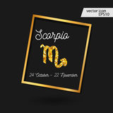 Zodiac sign vector illustration. Scorpio icon. Gold Zodiac Signs - Scorpio. zodiac sign vector illustration royalty free illustration
