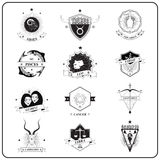 Zodiac Sign in Vintage Badge Style Royalty Free Stock Photography