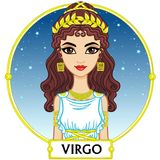 Zodiac sign Virgo. Animation character girl princess. A background - the star sky, a gold frame. Vector illustration Stock Photography