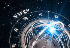 Zodiac Sign Virgo And Armillary Sphere On Black Background Royalty Free Stock Images