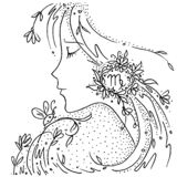 Zodiac sign Virgo black and white drawing girl with flowers and plants in her hair stock illustration