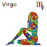 Zodiac sign Virgo with stylized flowers. Zodiac sign Virgo with filling of colorful stylized flowers on a white background, vector illustration Stock Images