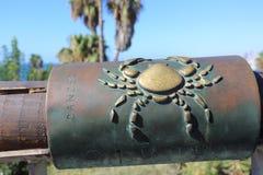 Cancer Zodiac sign on the Wishing Bridge. Jaffa. Israel. The Wishing Bridge of Jaffa stock photos