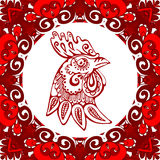 Zodiac Sign for Year of Rooster Chinese. Red symbol horoscope Royalty Free Stock Image