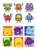 Zodiac signs 1. Hand drawn colored cartoon icons royalty free illustration