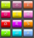 Zodiac signs. Colorful buttons with the 12 signs of the zodiac royalty free illustration