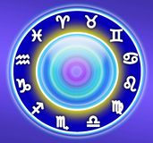 ZODIAC SIGNS. Zodiac symbols arranged in a circle with a blue background Royalty Free Stock Photography