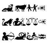 Zodiac signs. All 12 zodiac signs on white royalty free illustration