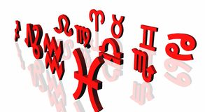 Zodiac Signs. Red Zodiac Signs over white with mirror reflection stock illustration