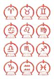 Set of Zodiac signs symbols in an elegant version. Illustration representing the twelve symbols of zodiac sings, set in a stylized sun Royalty Free Stock Images