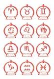Set of Zodiac signs symbols in an elegant version stock illustration
