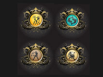 Zodiac Signs. Zodiac sign icons good for tshirt graphics, buttons pins, web and other designs Stock Image