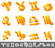 Zodiac signs. Set of 12 golden zodiac signs Stock Image