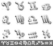 Zodiac signs. Set of 12 silver zodiac signs Royalty Free Stock Images