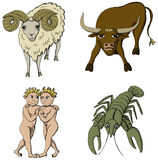Zodiac Signs - 1st period. Vector Illustration of Zodiac Signs - Ram, Bull, Twins and Crab. See my portfolio for other signs Stock Photo