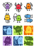 Zodiac signs 2. Hand drawn colored cartoon icons royalty free illustration