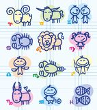 Zodiac signs. Set of funny hand drawn zodiac signs Vector Illustration