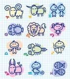 Zodiac signs. Set of funny hand drawn zodiac signs Stock Photos