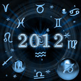 Zodiac signs. On the background of digits 2012 Royalty Free Stock Photos