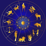 Zodiac signs. Zodiac with constellations and zodiac signs Royalty Free Stock Photography