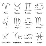 Zodiac signs. Horoscope zodiac signs created in sketch mode Royalty Free Stock Images