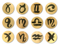 Zodiac signs. Set of icons on old paper stock photo