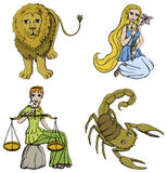 Zodiac Signs - 2nd period. Vector Illustration of Zodiac Signs - Lion, Maiden, Scales and Scorpion. See my portfolio for other signs Stock Image