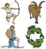 Zodiac Signs - 3rd period. Vector Illustration of Zodiac Signs - archer, goat-horned, water-bearer and fish. See my portfolio for other signs Stock Images