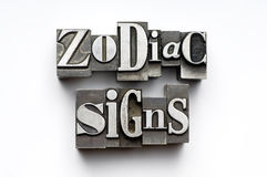 Zodiac Signs. Sign of the Zodiac using vintage letterpress type with narrow depth of field. Part of an annual/calendar series royalty free stock image