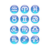 Zodiac Signs. 12 vector aqua Zodiac Signs stock illustration