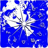 Zodiac signs on abstract blue background. Illustration representing the symbols of the 12 zodiac signs on a blue and white background stock illustration