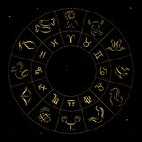 Zodiac signs. Abstract zodiac circle, Horoscope sign set Stock Photo