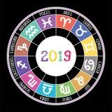 Zodiac signs 2019. Aquarius, libra, leo, taurus, cancer, pisces, stock illustration