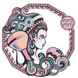 Zodiac signs Aquarius. Vector illustration of the girl Stock Photo